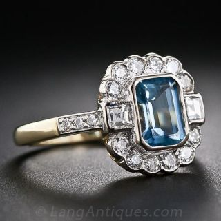 English Aquamarine and Diamond Ring