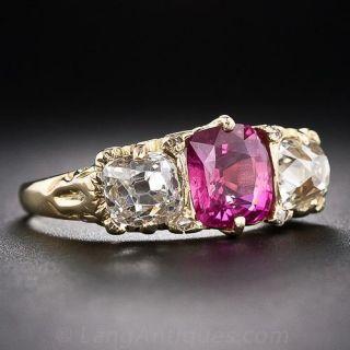 English Pink Sapphire and Diamond Three-Stone Ring