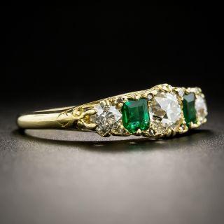English Victorian Diamond and Emerald Five-Stone Ring