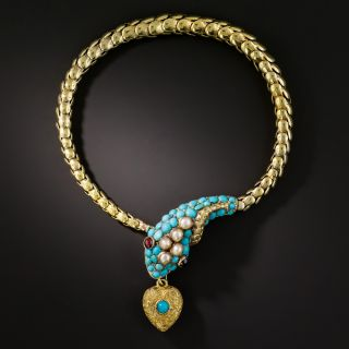 English Victorian Persian Turquoise Snake Bracelet