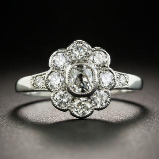 English Vintage Style Platinum Diamond Cluster Ring - 3