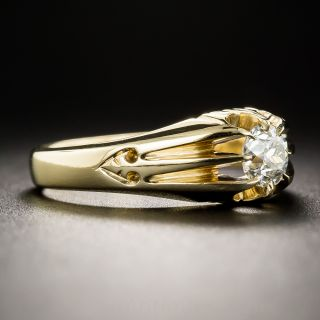 English Yellow Gold .50 Carat Diamond Vintage Solitaire Ring