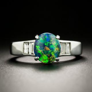 Estate 1.00 Carat Black Opal and Baguette Diamond Ring - 2