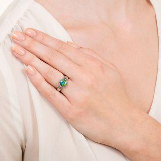 Estate 1.00 Carat Black Opal and Baguette Diamond Ring