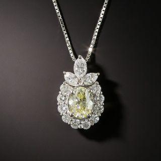 Estate 1.00 Carat Oval Diamond Drop Necklace - GIA - 1