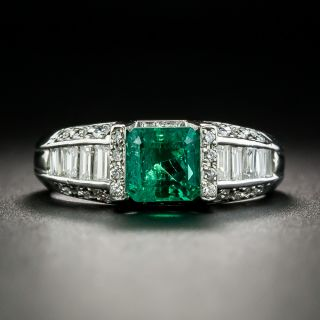 Estate 1.01 Carat Emerald and Diamond Ring - 1