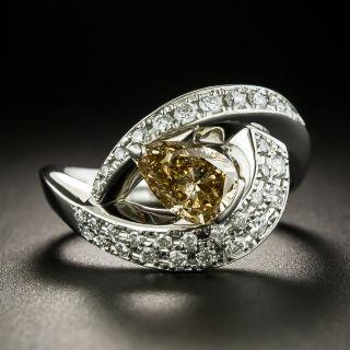Estate 1.01 Carat Pear-Cut Natural Brown Diamond Ring - GIA - 2