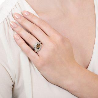 Estate 1.01 Carat Pear-Cut Natural Brown Diamond Ring - GIA