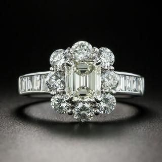 Estate 1.03 Carat Emerald-Cut Diamond Halo Ring - GIA N SI1 - 1