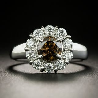 Estate 1.03 Carat Fancy Brown Diamond Halo Ring - 2