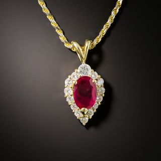 Estate 1.06 Carat Burmese Ruby and Diamond Pendant - 1