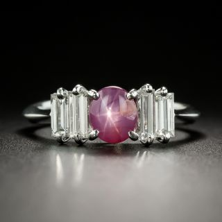 Estate 1.08 Carat Star Ruby Cabochon and Diamond Ring - 2