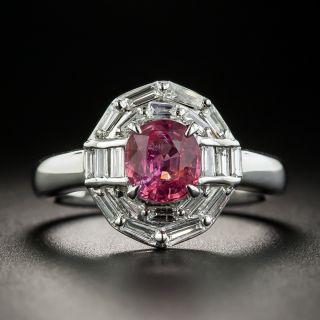 Estate 1.09 Carat Pink Sapphire and Diamond Ring - 1