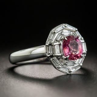 Estate 1.09 Carat Pink Sapphire and Diamond Ring