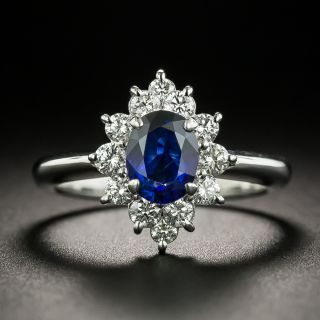 Estate 1.10 Carat Sapphire and Diamond Halo Ring - 1