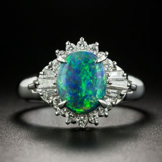 Estate 1.11 Carat Black Opal and Diamond Ring - 1