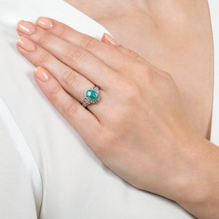 Estate 1.11 Carat Black Opal and Diamond Ring