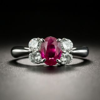 Estate 1.11 Carat Burmese Ruby and Diamond Ring - 1