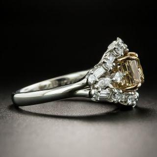 Estate 1.11 Carat Princess-Cut Natural Brown Diamond Engagement Ring - GIA