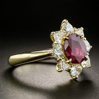 Estate 1.13 Carat Burmese Ruby and Heart-Shaped Diamond Ring