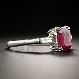 Estate 1.13 Carat Emerald-Cut Burmese Ruby and Diamond Ring
