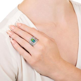 Estate 1.18 Carat Black Opal and Diamond Wide Band Ring