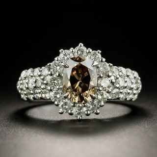 Estate 1.18 Carat Fancy Dark Yellowish Brown Oval-Cut Diamond Ring - GIA - 3