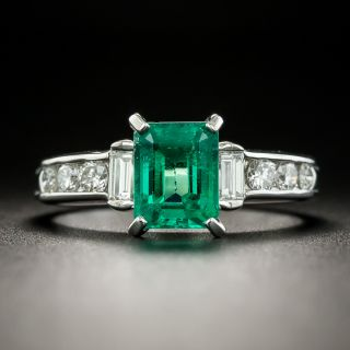 Estate 1.19 Carat Emerald and Diamond Ring - 2