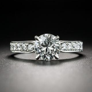 Estate 1.20 Carat Round Brilliant Diamond Platinum Engagement Ring - GIA H VS1 - 1