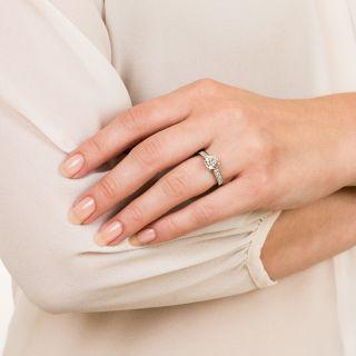 Estate 1.20 Carat Round Brilliant Diamond Platinum Engagement Ring - GIA H VS1