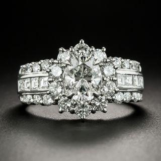 Estate 1.23 Carat Oval Diamond Halo Ring - GIA J VS1 - 3