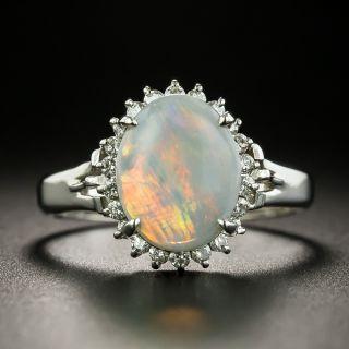 Estate 1.25 Carat Opal and Diamond Halo Ring - 1