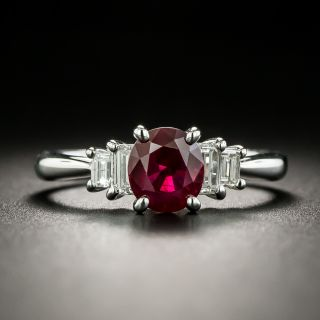 Estate 1.27 Carat Burmese Ruby and Diamond Ring - 2
