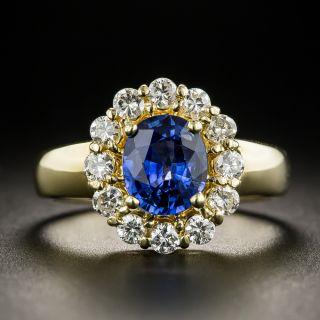 Estate 1.27 Carat Ceylon Sapphire Diamond Halo Ring  - 1