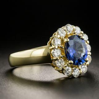 Estate 1.27 Carat Ceylon Sapphire Diamond Halo Ring