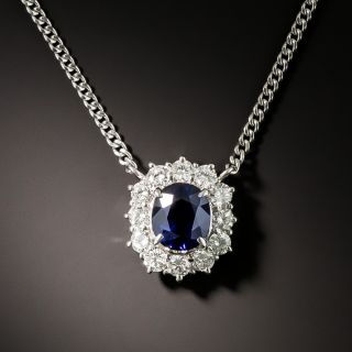 Estate 1.28 Carat Ceylon Sapphire and Diamond Halo Pendant - 2