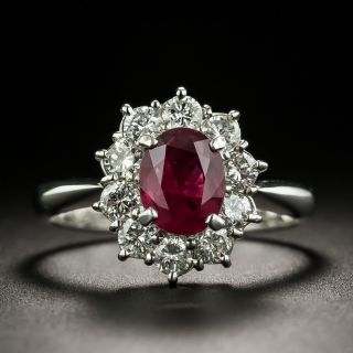 Estate 1.30 Carat Thai Ruby and Diamond Halo Ring - 1