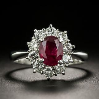 Estate 1.30 Carat Thai Ruby and Diamond Halo Ring - 1