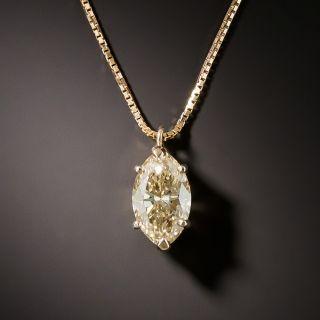 Estate 1.35 Carat Natural Fancy Brown-Yellow Marquise-Cut Diamond Pendant - GIA - 2