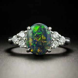 Estate 1.41 Carat Black Opal Cabochon and Diamond Ring - 2