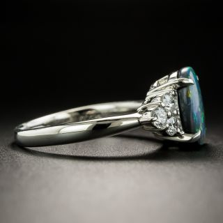 Estate 1.41 Carat Black Opal Cabochon and Diamond Ring