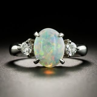 Estate 1.44 Carat Opal and Diamond Ring - 1