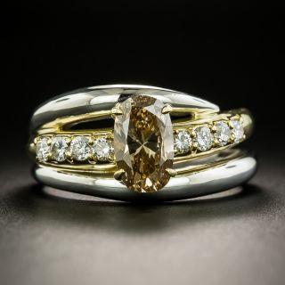 Estate 1.47 Carat Cushion-Cut Fancy Brown-Yellow Diamond Ring - GIA I1 - 1