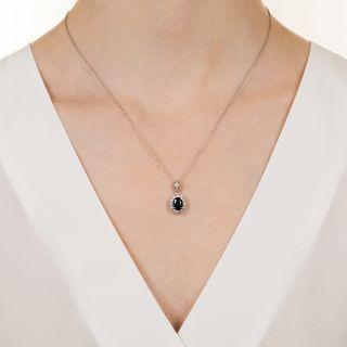 Estate 1.47 Carat No-Heat Sapphire and Diamond Halo Pendant