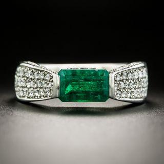 Estate 1.48 Carat Emerald Platinum Diamond Ring - 1