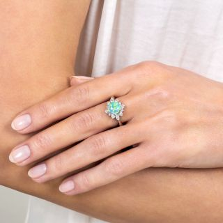 Estate 1.49 Carat Opal and Diamond Ring
