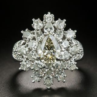 Estate 1.51 Carat Pear Shape Diamond Cocktail Ring - GIA O-P VS2 - 1