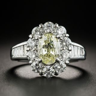 Estate 1.51 Ct. Oval Fancy Light Yellow Diamond Ring  - 2