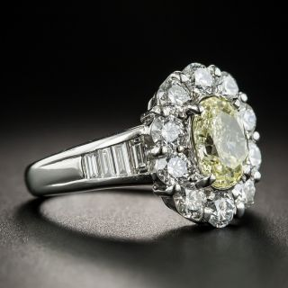 Estate 1.51 Carat Oval Fancy Light Yellow Diamond Ring