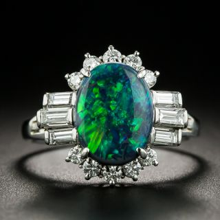 Estate 1.53 Carat Black Opal and Diamond Ring - 3